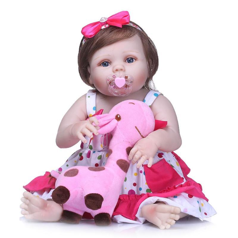 22inch Reborn Baby Doll Soft Silicone Imitation Newborn Girl Toys Kids Sleeping Accompany Stuffed Toy DIY Dolls Set with Cloth цена 2017