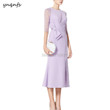 YNQNFS MD201 Vintage Half Sleeves Big Bow Tea Length Mother of the Bride Dresses Groom Outfits Lilac Guest Party Dress 2019
