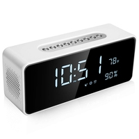 Fm Radio Alarm Clock With 8 inch Dimmable Large Led Usb Charger Port Rechargeable Battery Backup Sleep Timer Adjustable