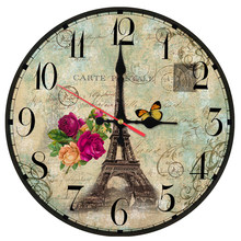 new hot wall clock wooden clocks home decor quartz watch single face still life circular sofa background stickers europe style(China)