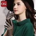 2016 GSG New Arrival Genuine Leather Gloves for Women Top Grade Sheepskin Ladies Gloves Black Brown Beige Winter Thermal Glove