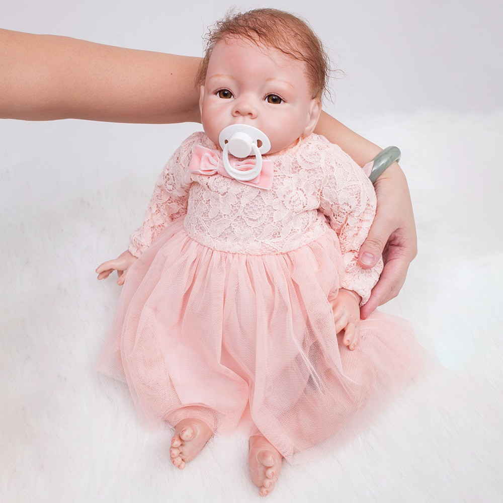 22 inch Reborn Dolls Little Princess Silicone Baby Realistic Doll Kids Playmates Pink Dress Lifelike Bebe
