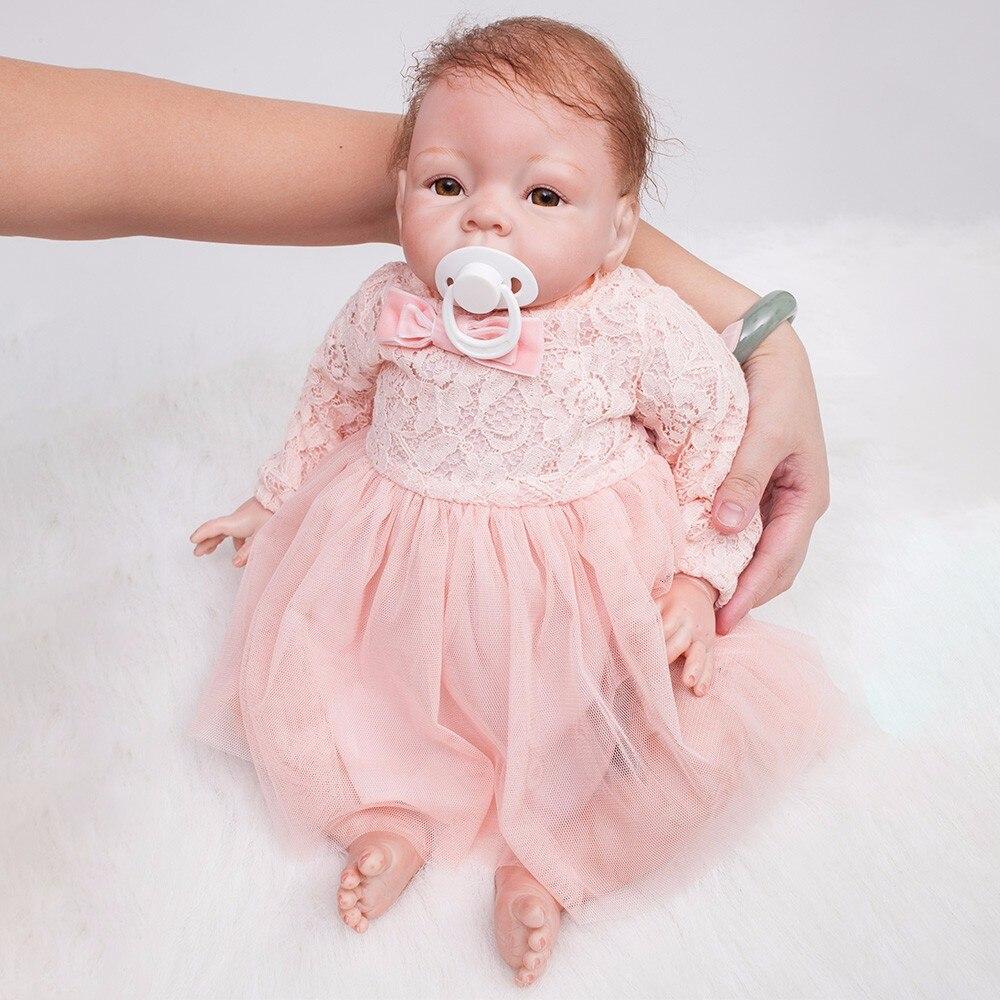 22 pouces Reborn poupées petite princesse Silicone bébé réaliste poupée enfants Playmates rose robe réaliste Bebe nouveau-né poupées 55cm