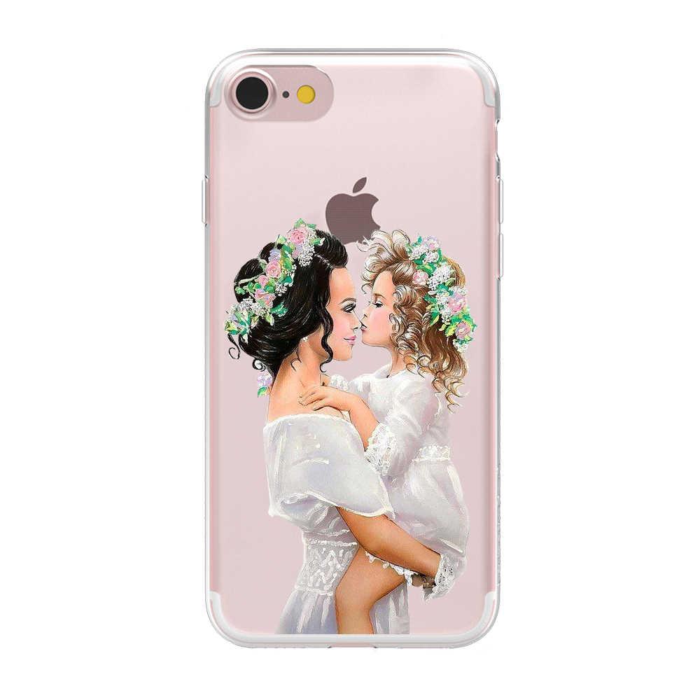Hitam Coklat Rambut Bayi Ibu Wanita Gadis Lembut Silicone Ponsel Case PENUTUP UNTUK iPhone 6 6S 7 8 Plus X XS Max XR 5 5 S Se Kasus