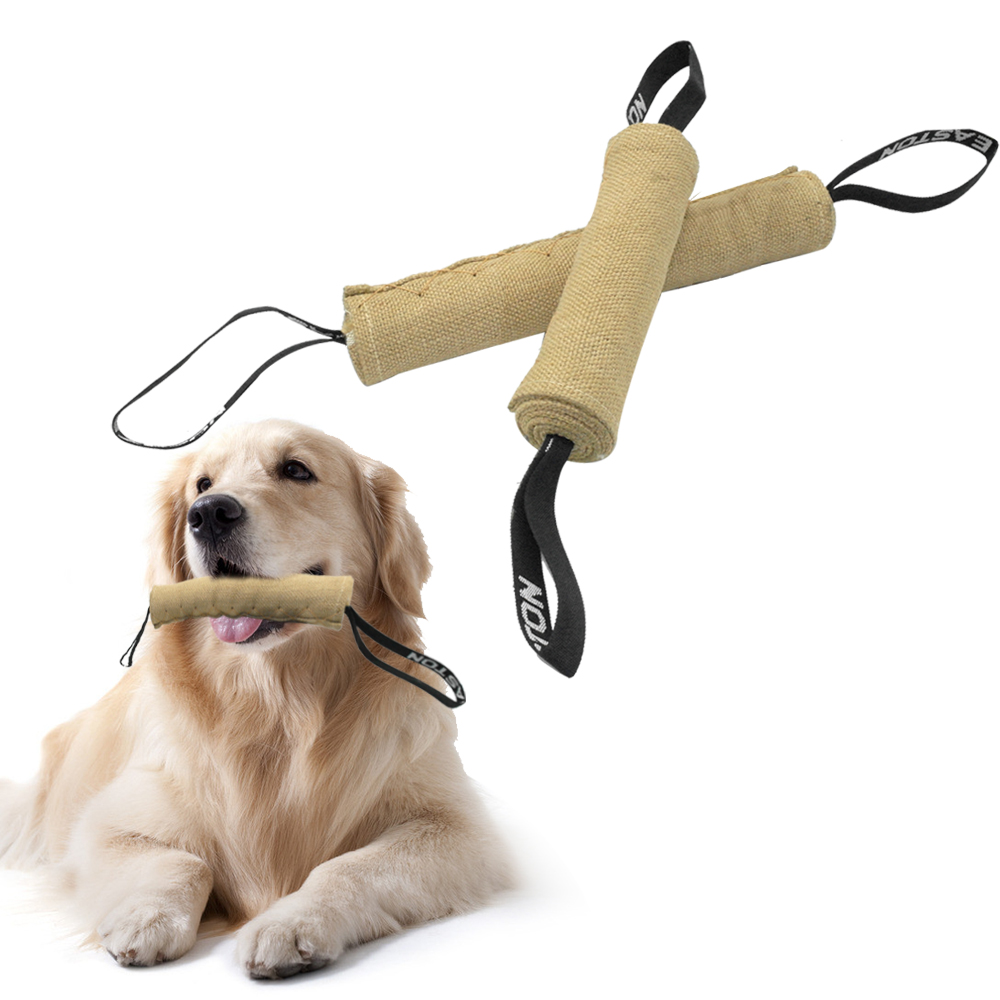 Dog Training Tug Toys: Durable Linen Dog Bite Tug Toy With 2 Handles For Dogs Pet