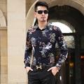 2016 New Fashion Casual Men Shirt Long Sleeve Flower Color Slim Fit Shirt Men Turn-Dwon Collar High Quality Mens Dress Shirts