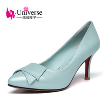 Universe Plus Size Sweet Women's Shoes Genuine Leather Pointed Toe High Heel Dress Shoes E022