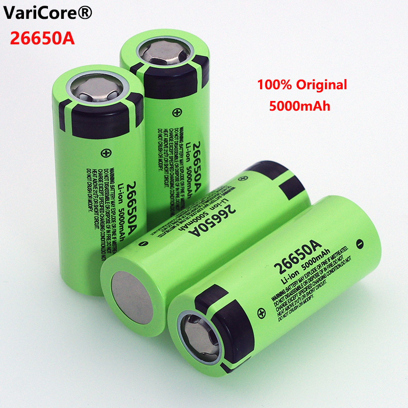 4pcs VariCore <font><b>26650A</b></font> Li-ion Battery 3.7V 5000mA Rechargeable batteries Discharger 20A Power battery for flashlight E-tools image