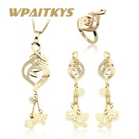 Gold Color Long Jewelry Sets for Women Ladies Heart S Wedding Cubic Zirconia Necklace Earrings Ring Stones Gifts