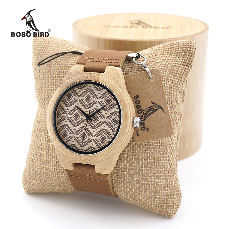 BOBO BIRD Unique Design Bamboo Wooden Watch Ladies Japan Movement Quartz Watch with Real Leather Strap as Gift for Women Men bobo bird v a10 unique vogue womens bamboo wooden watch quartz outdoor sport watches with genuine leather strap montre femme