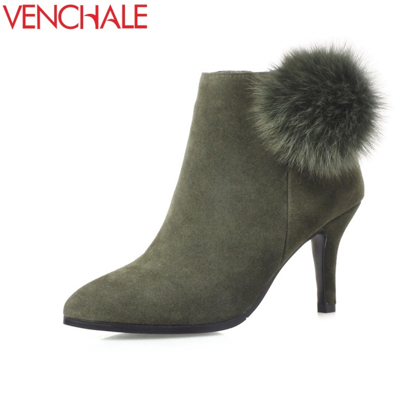 VENCHALE women booties for autumn winter pointed toe real leather shoes woman thin high heel fashion ankle boots real fur dec nikbea vintage western boots cowboy ankle boots for women pointed toe boots winter 2016 autumn shoes pu chunky low heel booties