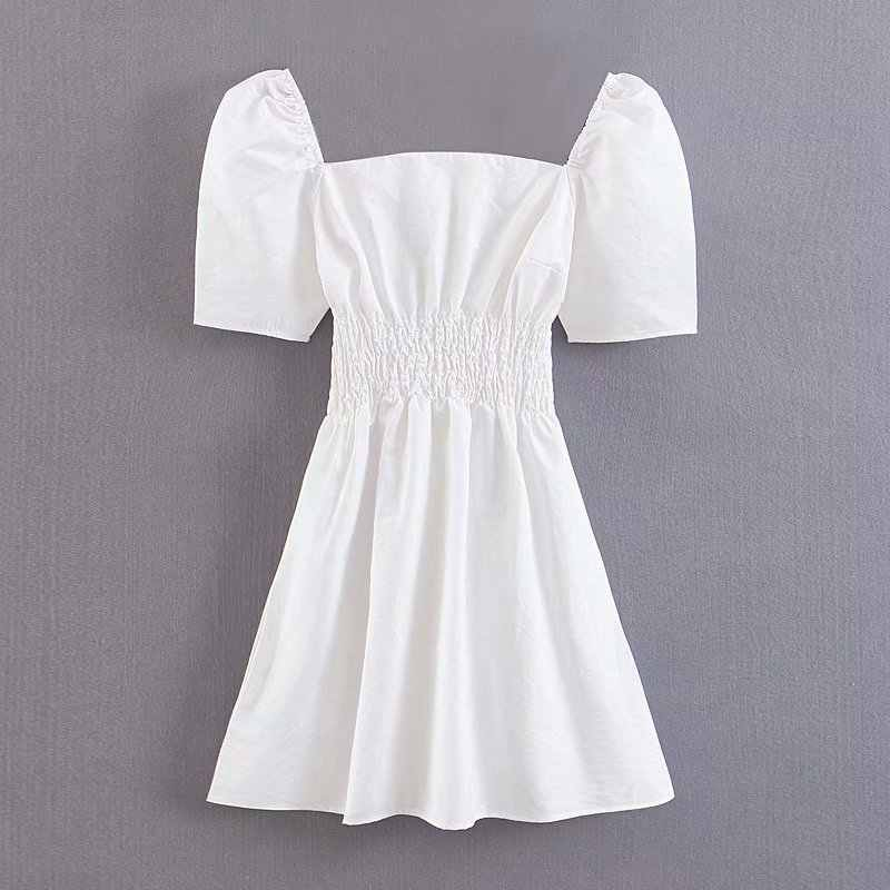 Vestido blanco verano 2019 corto para señora, elegante vestido playero informal con cuello cuadrado, Túnica de manga corta kawaii Coreano