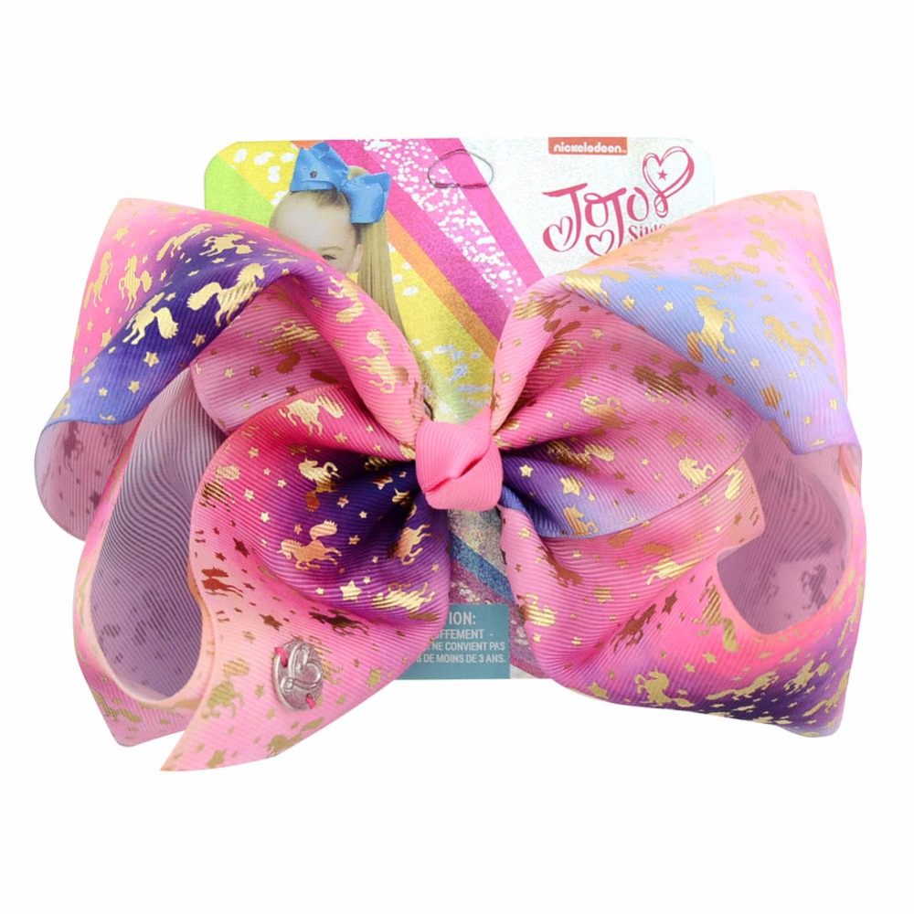 "1piece 8"" JoJo Clip Large Rainbow Unicorn Bow-knot Print Grosgrain Ribbon Hair Bows With Clip Kids Handmade Hair Accessory(China)"