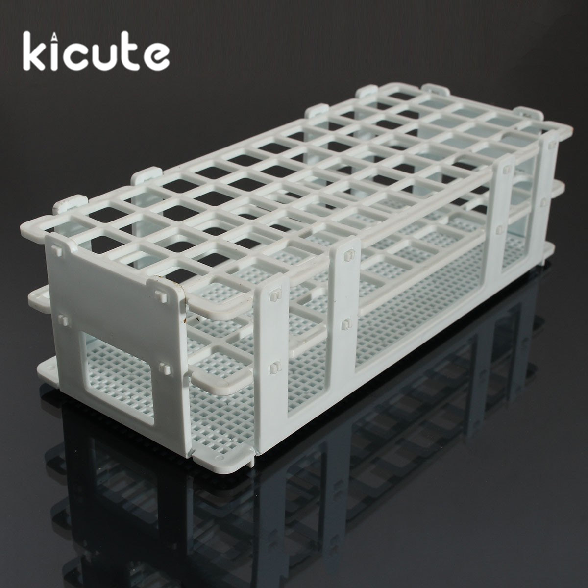 Kicute 60Holes 16mm 3 Layers Plastic Test Tube Rack Holder Support Burette Stand Laboratory Test tube Stand Shelf Lab Supplies 60 piece tube 16x150mm clear plastic test tube set with caps and rack