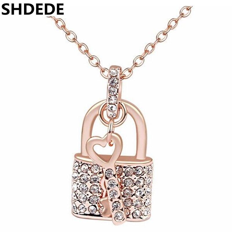 SHDEDE Crystal Necklace Pendants Fashion Jewelry Key Lock Choker Vintage Style lady Jewellery Valentine's Day Gift *-17910