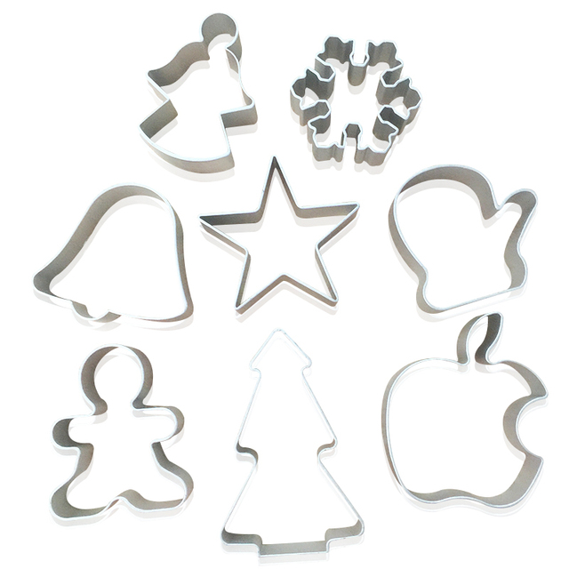 8 Pcs Christmas Series Aluminium Alloy Cookie Mold Biscuit Pastry Mold Cookies Christmas Tree Snow Angel