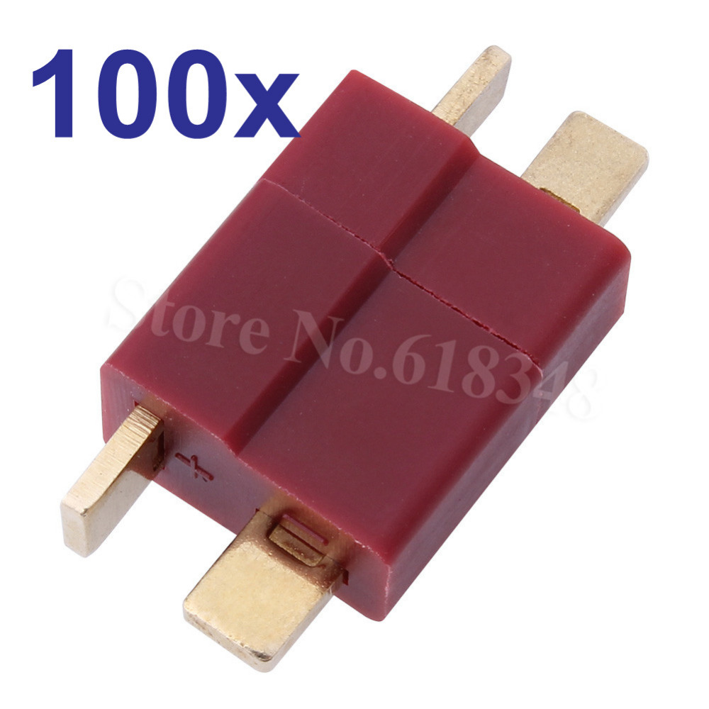 Wholesale 100 Pairs T Plugs Connectors Deans Style Male /Female For ESC LIPO Battery Motor RC LiPo Battery Airplane Quadcopter