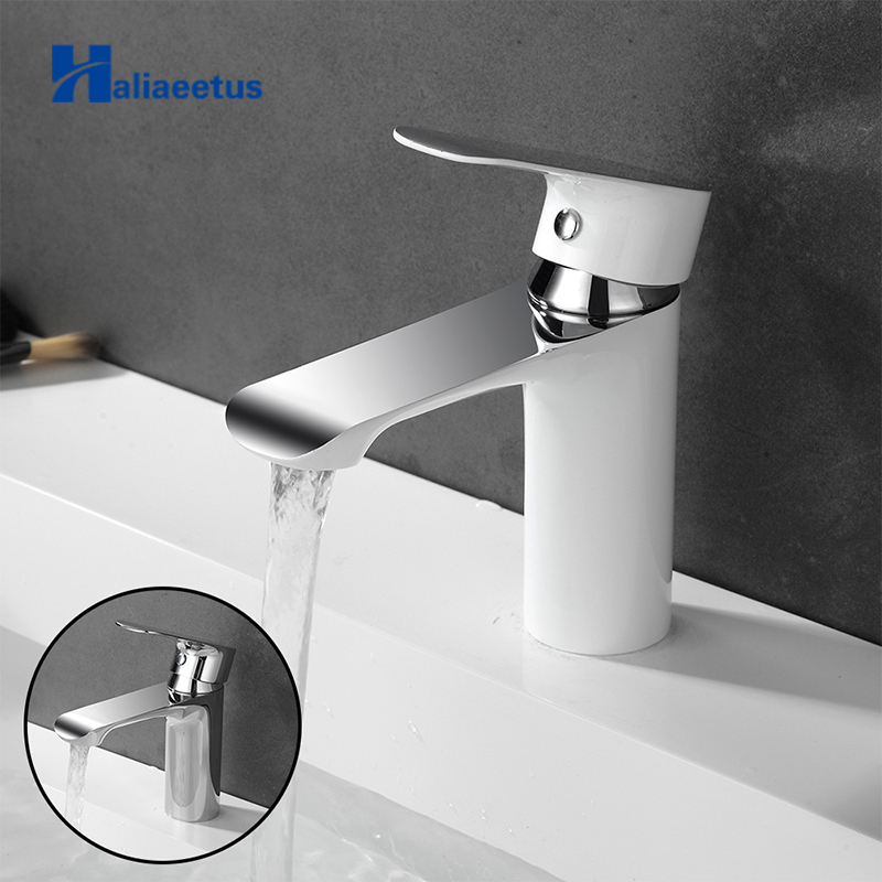 Haliaeetus bathroom sink faucet cold and hot bathroom faucet chrome water mixer white water tap brass basin faucet single handle
