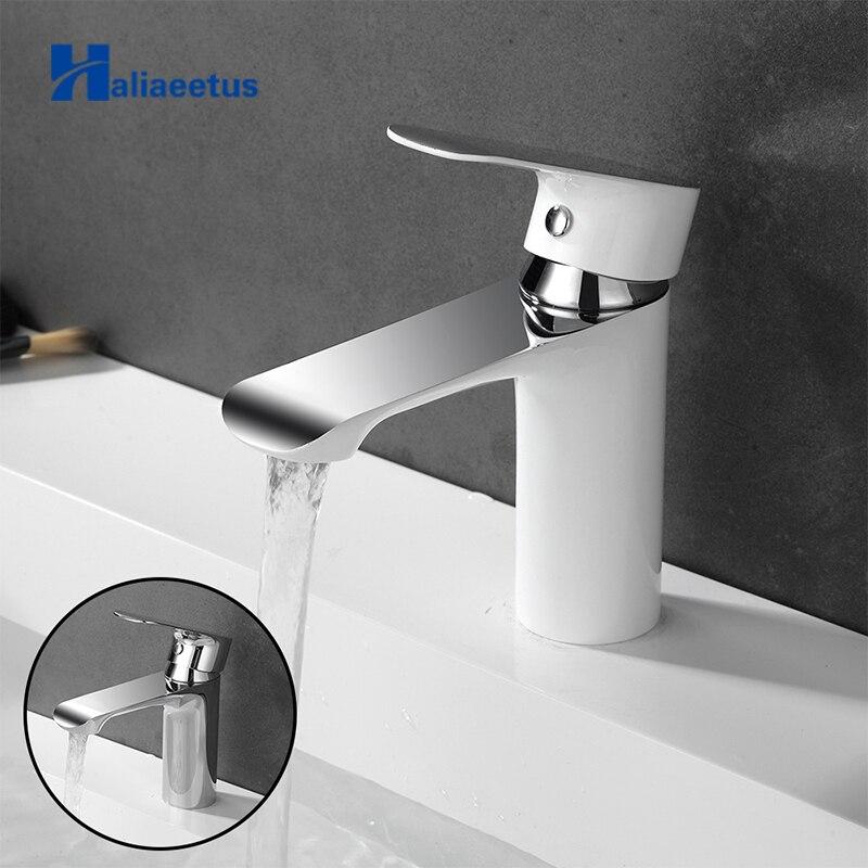 Robinet d'évier de salle de bain Haliaeetus robinet de salle de bain froid et chaud mélangeur d'eau chromé robinet d'eau blanche robinet de bassin en laiton mélangeur