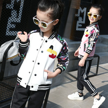 цены Kids Clothing Set Track Suit Children Long Sleeve Cotton O-neck Jacket+Pants School Girls Autumn Spring Suit