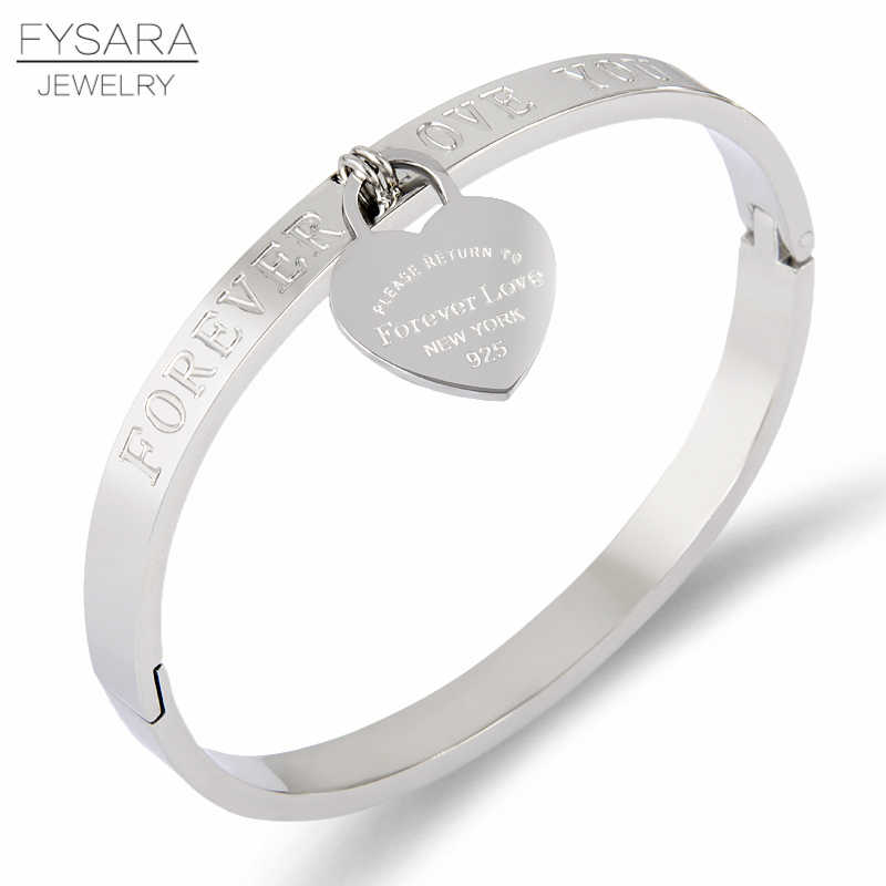 FYSARA Luxury Brand Pulseira Stainless Steel Bracelet & Bangle Rose Gold Color Heart Forever Lover Tag Bangle Jewelry For Women