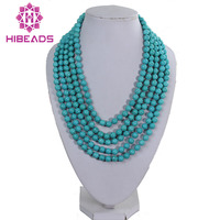 Free Shipping Fashion 5 Rolls Turquoise Beads Necklace Elegant Layers 8MM Beaded Costume Jewelry Wholesale Retail