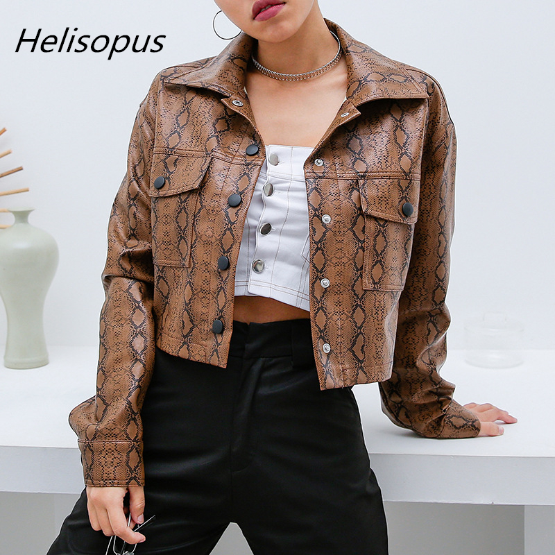 Helisopus Snake Print Faux Leather Women   Jacket   Harajuku Punk Turn-down Collar Pocket Short   Basic     Jacket   Autumn Female Outerwear