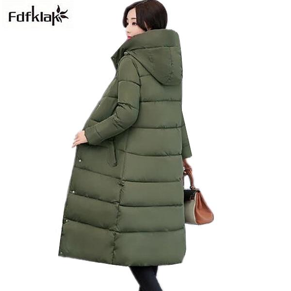 Fdfklak Winter Jacket Women New 2018 Casual Long Winter Coat Women Cotton-padded Hooded   Parka   Female Thick Coats manteau femme