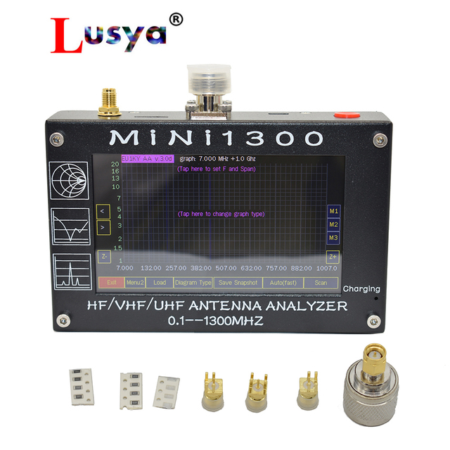 New arrival Mini1300 TFT LCD 0.1 1300MHz HF VHF UHF ANT SWR Antenna Analyzer inner Battery Meter Upgrade From MINI600 I3 003