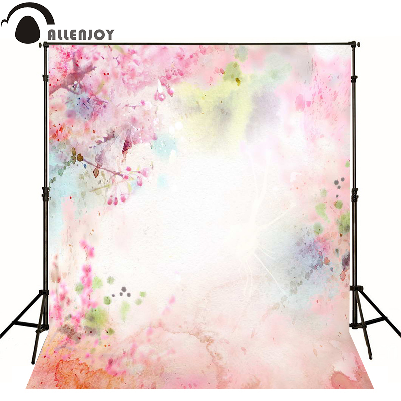 Allenjoy photography backdrops Watercolor pink hand-drawn fantasy photo background newborn baby photocall lovely thin vinyl