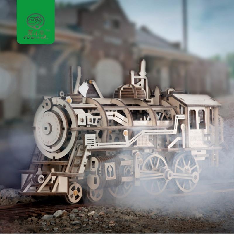 Robud DIY Mobile Locomotive par Clockwork En Bois Modèle Kits de Construction Assemblée Jouets Loisirs Cadeau pour les Enfants, Les Adolescents, adulte LK701