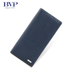 BVP – Brand High End Genuine Cow leather Men's Long Wallets Solid Color with Natual Closure + 10 Slots for Cards J50