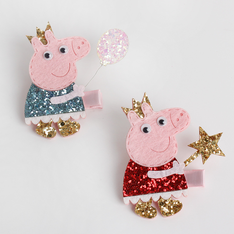1 PCS 2017 New Baby Hairgrips Girls Hair Clips Cute Flash Pig Hair Accessories Infant Headwear Hairpin For Children Barrette  2pcs 1lot little ponys princess braid wig hair clips hairpin headdress party hairgrips cosplay hair accessories headband