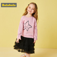 Balabala autumn dresses for girls Star pattern Gauze dresses children's clothing for girls Long sleeved dress holiday dresses(China)