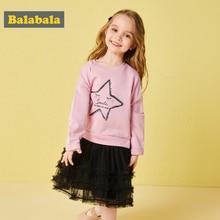 Balabala autumn dresses for girls Star pattern Gauze dresses children's clothing for girls Long sleeved dress holiday dresses