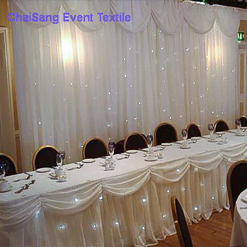 Witte chiffon bruiloft achtergrond gordijnen met swag voor bruiloft - Thuis textiel