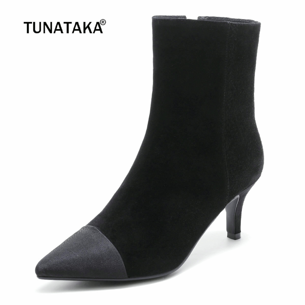 Ladies Fashion Zipper Suede Thin Heels Ankle Boots Women Pointed Toe Autumn Stretch Shoes Black women fashion ankle boots top quality suede autumn slip on pointed toe flats punk suede biker boots ladies shoes wholesales