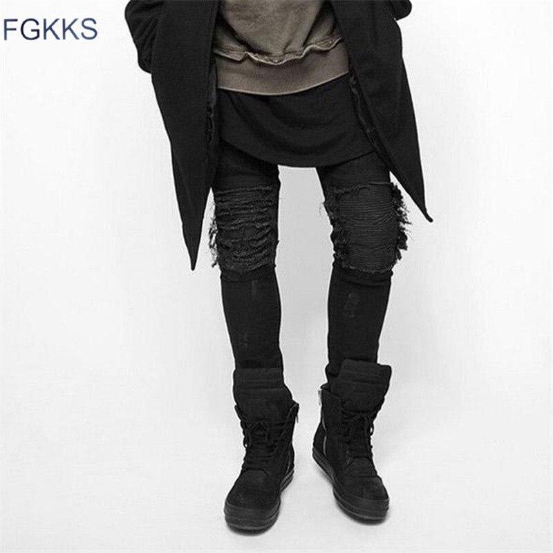 FGKKS 2018 New Fashion Mens Black Skinny Jeans Pants Hi-Street Hip Hop Men Denim Joggers Pants Famous Brand Designer Men Trouser