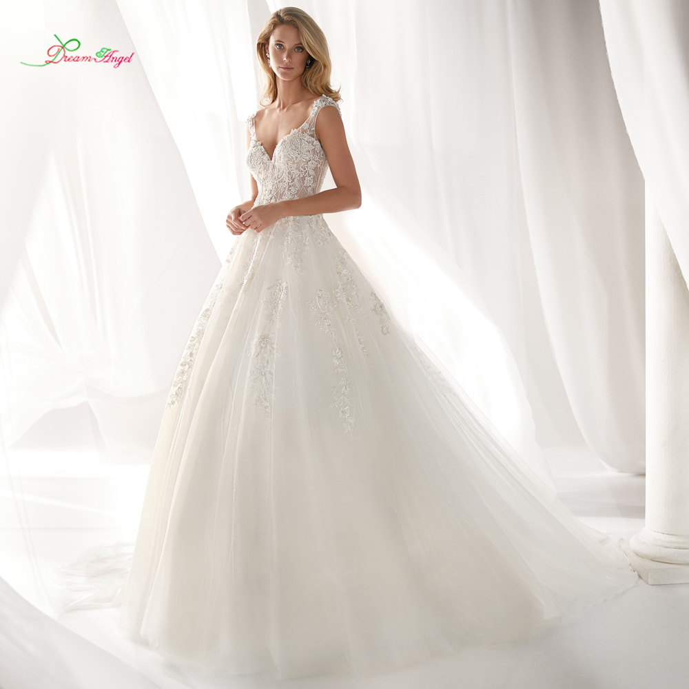 Dream Angel Vestido De Noiva Sweetheart A Line Wedding Dress 2019 Sexy Backless Appliques Beaded Court Train Tulle Bride Gown