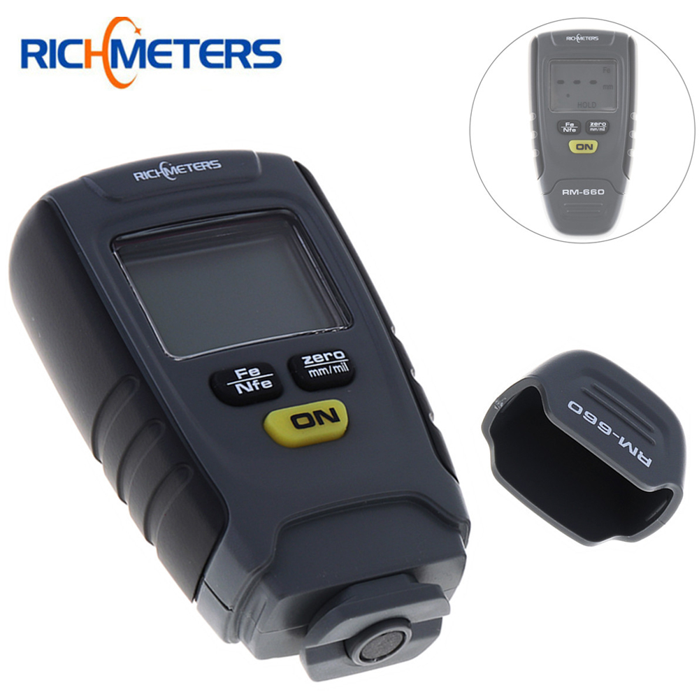 RM660 Mini Digital Auto Paint Coating Thickness Gauge LCD Feeler Meter Tester Fe / NFe 0-1.25mm for Automotive Car Instrument digital film coating thickness gauge mini ultrasonic automotive lcd car coat painting thickness tester width measure meter gm200