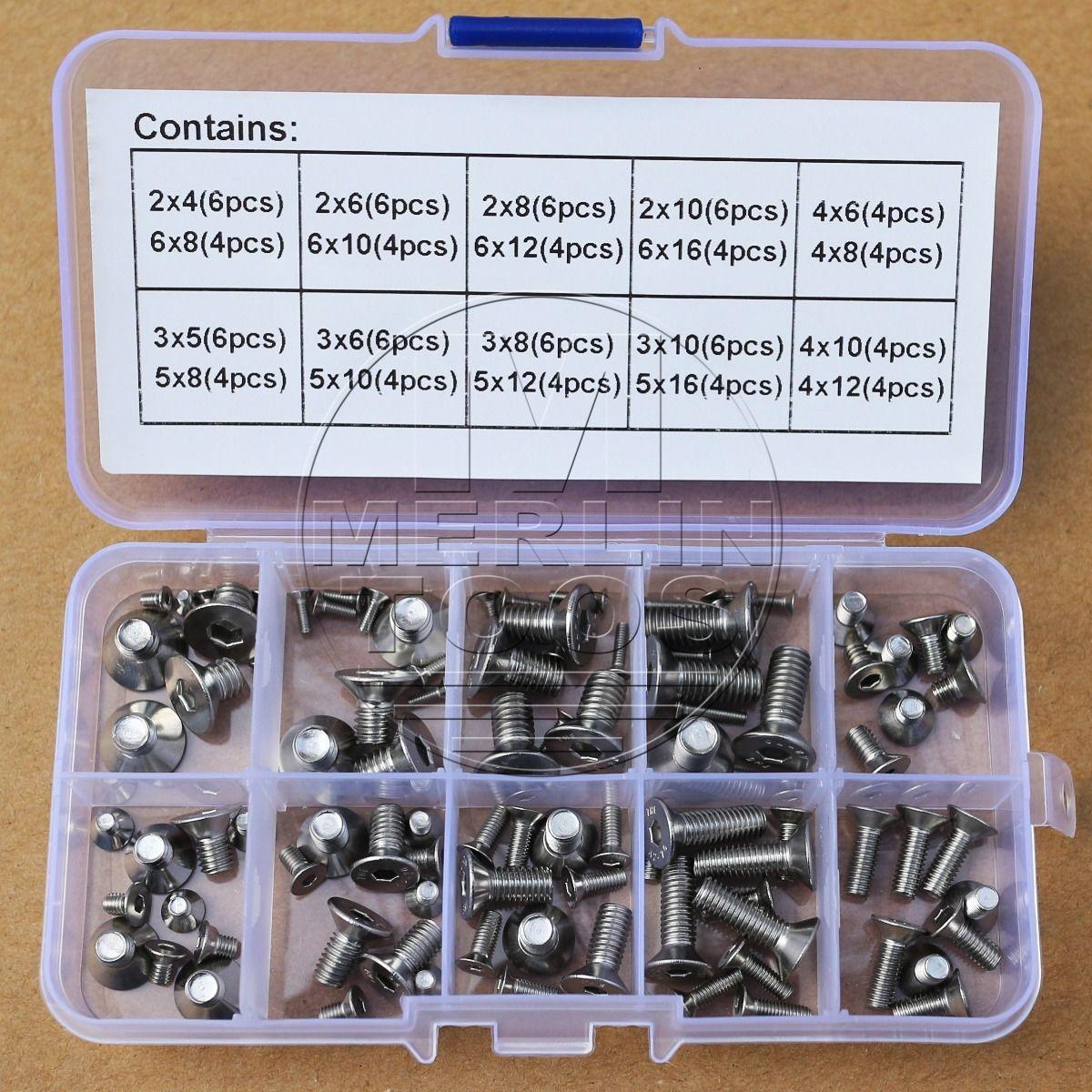 M2 M3 M4 M5 M6 Stainless Steel Allen Flat Head Socket Cap Screws Assortment Kit недорого