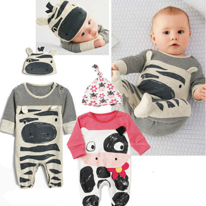Cows Zebras Long Sleeve Hooded Cartoon Baby Jumpsuit Autumn Top Quality Printing Infantil Baby Boys Girls Clothes Kawaii Rompers