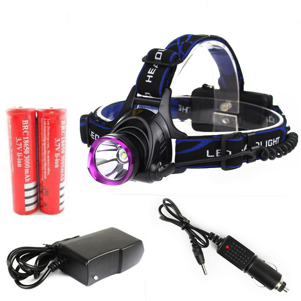 2000 Lumens CREE XM-L XML T6 LED Headlamp Headlight Flashlight Head Lamp Light+2x18650 Rechargeable Batteries+ AC&Car Charger - New Ray store