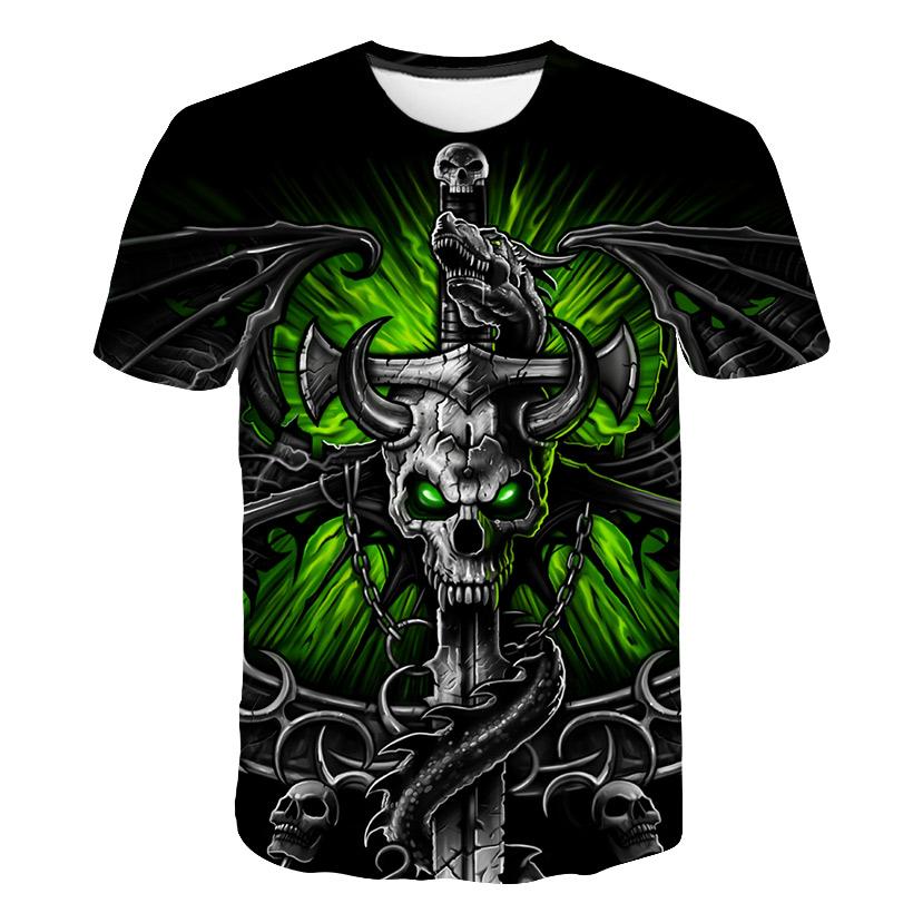 Camiseta para hombre en algodón con diseño de calavera gotica 3