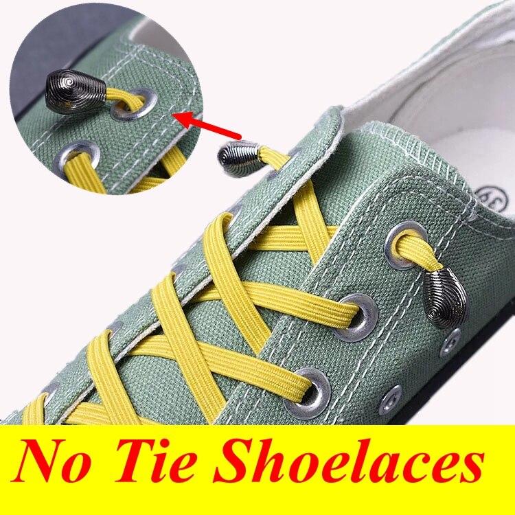 1Pair Elastic ShoeLaces No Tie Shoe laces Kids Adult Quick Sneakers Shoelace Metal Head Flat Shoe Lace 21 Colors lacet chaussure1Pair Elastic ShoeLaces No Tie Shoe laces Kids Adult Quick Sneakers Shoelace Metal Head Flat Shoe Lace 21 Colors lacet chaussure