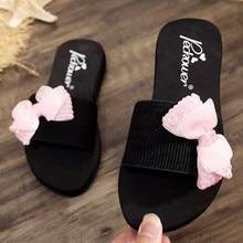 Verano nuevo niño antideslizante encantadora princesa moda playa zapatos pellizcar Sandalias Mujer lazo-Nudo zapatillas mujer desgaste s71