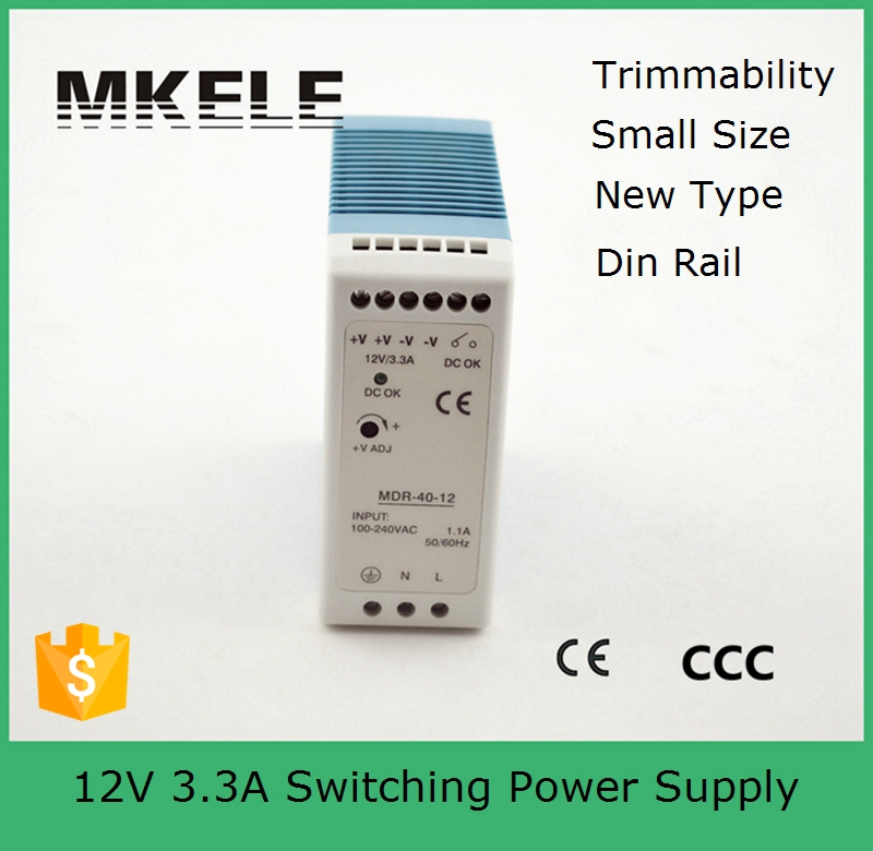 2015 Real New Single 1 - 50w Small Volume 40w Thin And Mini Size Ce Approved Power Supply Din Rail 12v Mdr-40-12 3.3a Mdr Series original mini era mini era small pos utx310h standard 1u power supply