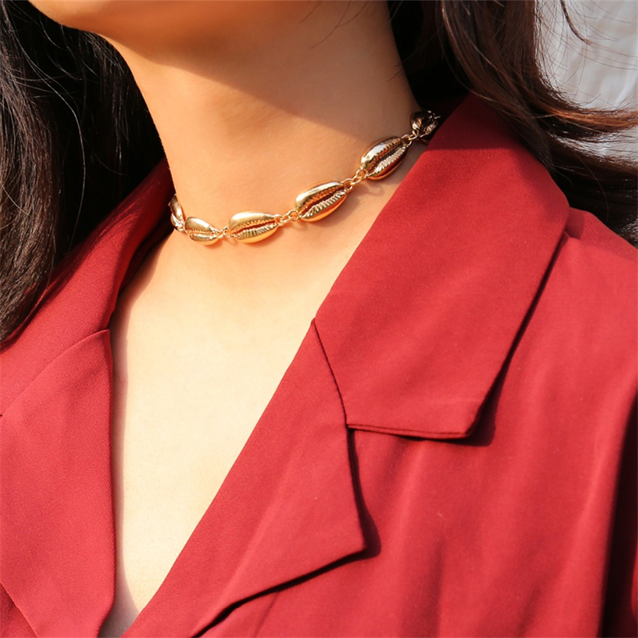 Ingemark-Bohemian-Alloy-Shell-Choker-Necklace-Collar-Statement-Golden-Seashell-Necklace-for-Women-Girl-Jewelry-Accessories