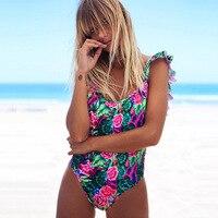 One Piece Swimsuit 2018 Sexy Leaf Print Swimwear Women Swimsuit Push Up Bathing Suits Beach Wear