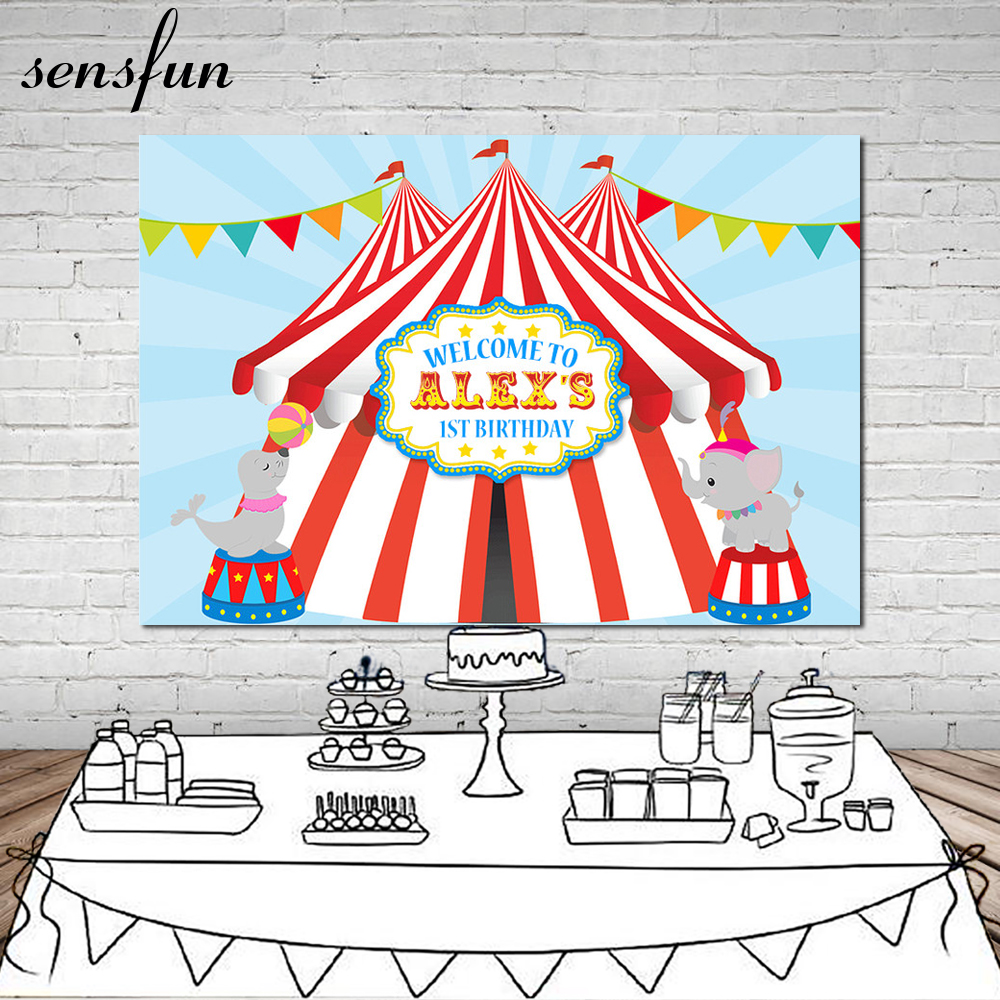 5x7ft Carnival Circus Tent Stage Entrance Balloons Custom Photo Bendera Merah Putih Plastik Flag Palstik Sensfun Party Fotografi Backdrop Bunting Pesta Ulang Tahun 1st Photocall Latar Belakang Vinyl